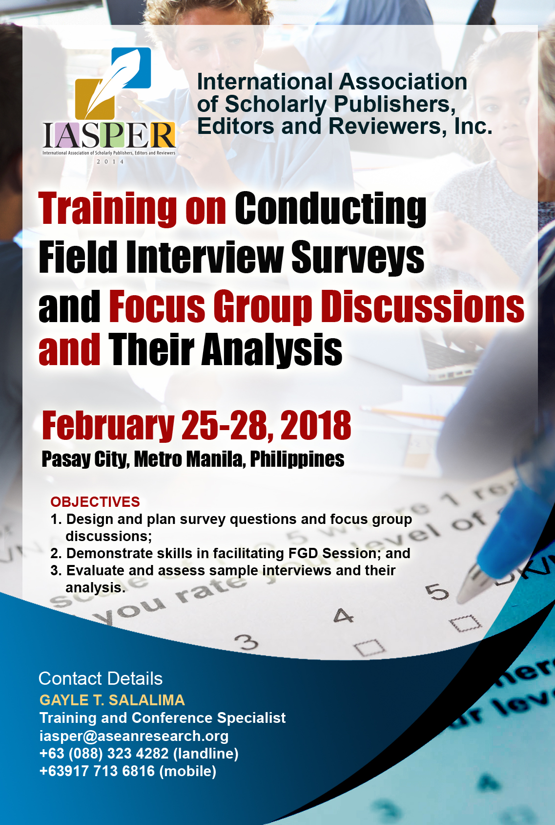 asean research organization training on conducting field interview surveys and focus group discussions and their analysis february 25 28 2018